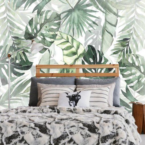 Tropikalne liście na fototapecie