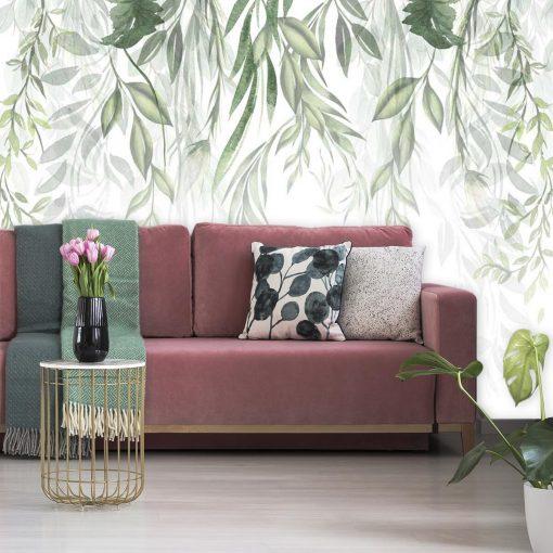 Foto-tapeta z motywem zielonych roślin do montazu w salonie
