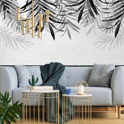 Foto-tapeta z motywem szarych liści do ozdoby salonu