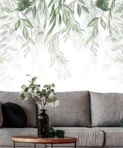Tapeta z zielonymi roślinami do upiększenia salonu