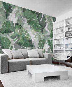 Tapeta egzotyczne liście do upiększenia salonu