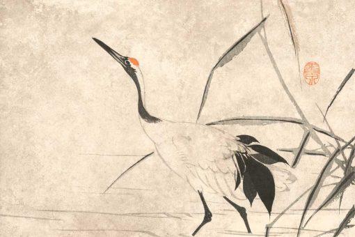 Japoński Żuraw - tapeta z reprodukcją