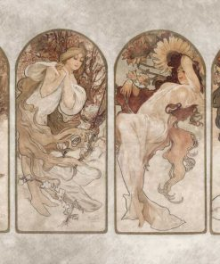 Tapeta z reprodukcją Czterech Pór Roku Alfonsa Muchy