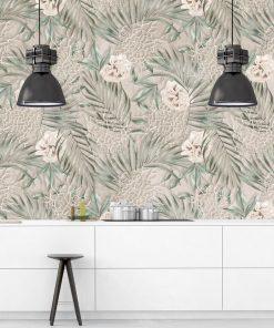 Artystyczna fototapeta - Liście i róże do kuchni