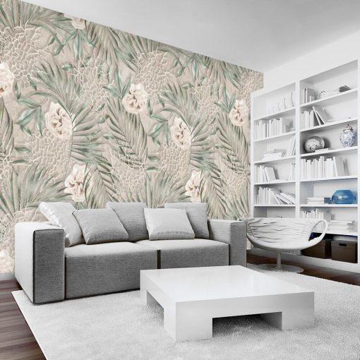 Artystyczna fototapeta - Liście i róże do salonu