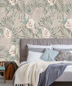 Artystyczna fototapeta - Liście i róże do sypialni
