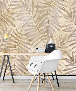 Beżowa fototapeta w palmowe liście do biura