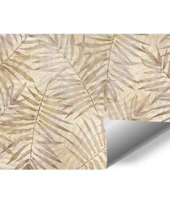 Beżowa fototapeta w palmowe liście do przedpokoju