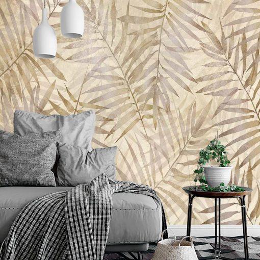 Beżowa fototapeta w palmowe liście do salonu