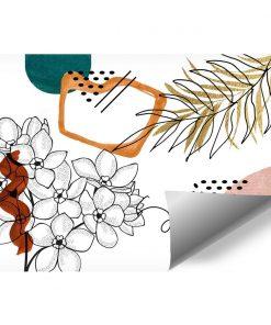Bezowa tapeta z roślinami i abstrakcją