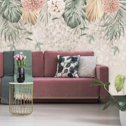 Finezyjna foto-tapeta z pastelową chryzantemą do pokoju