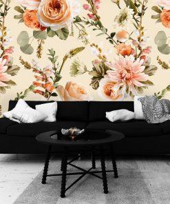 Finezyjna tapeta w kwiaty do salonu