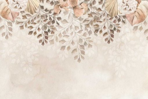 Foto-tapeta boho w delikatne kwiaty do jadalni