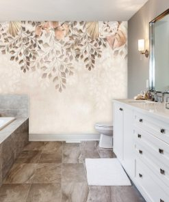 Foto-tapeta boho w delikatne kwiaty do łazienki