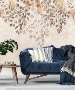 Foto-tapeta boho w delikatne kwiaty do salonu