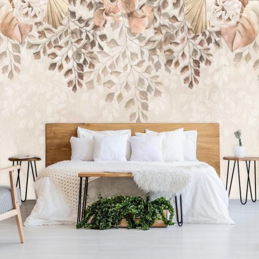 Foto-tapeta boho w delikatne kwiaty do sypialni