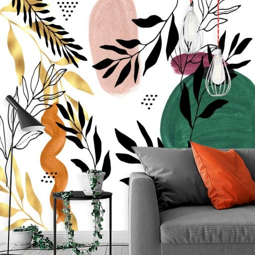 Foto-tapeta z elementami natury do dekoracji salonu