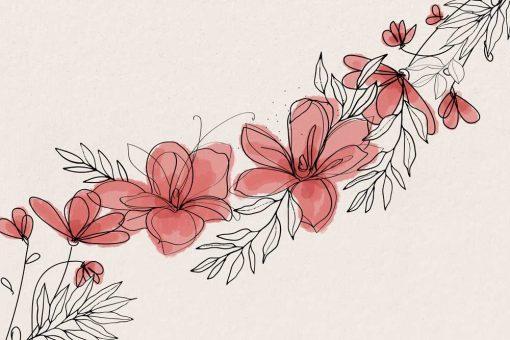 Foto-tapeta z graficznymi kwiatami w różu do dekoracji sypialni