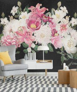 Foto-tapeta z kwiatkami na szarym tle