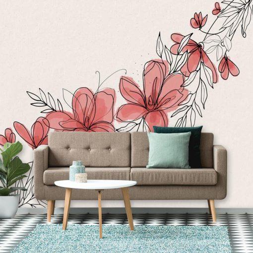 Foto-tapeta z kwiatuszkami do dekoracji salonu