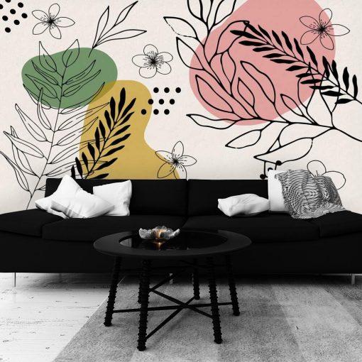Foto-tapeta z motywem abstrakcji i kwiatuszków