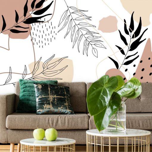 Foto-tapeta z motywem abstrakcji i liści do montażu w salonie