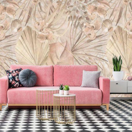Foto-tapeta z roślinnym ornamentem do salonu