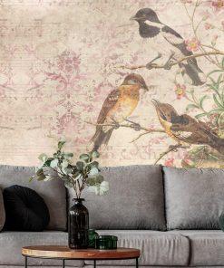 Fototapeta botaniczna z ptaszkami do biura