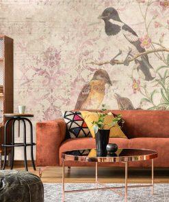 Fototapeta botaniczna z ptaszkami do salonu