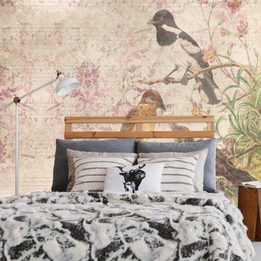 Fototapeta botaniczna z ptaszkami do sypialni