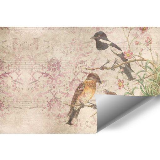 Fototapeta botaniczna z ptaszkami na przedpokój