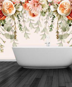 Fototapeta - Róże i chryzantemy do łazienki