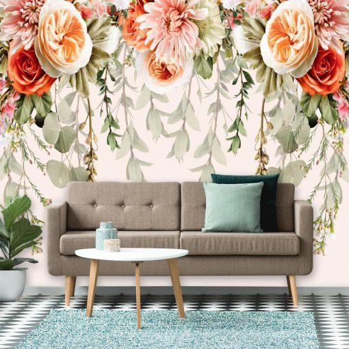 Fototapeta - Róże i chryzantemy do salonu