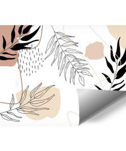 Fototapeta z abstrakcjami i listkami do dekoracji sypialni