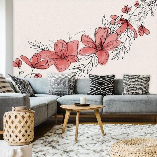 Fototapeta z kwiatami do dekoracji salonu