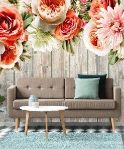 Fototapeta z kwiatami do ozdoby ściany w salonie