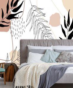 Fototapeta z motywem liści i abstrakcji do ozdoby sypialni