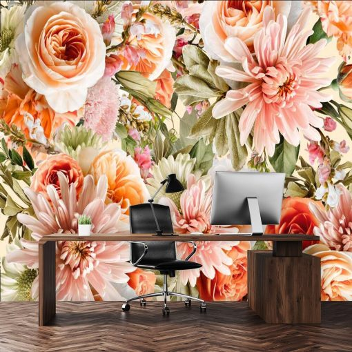 Kwiatowa fototapeta botaniczna do gabinetu