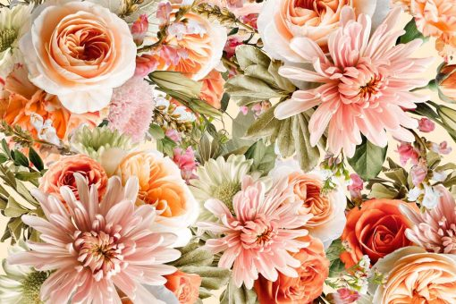 Kwiatowa fototapeta botaniczna do kawiarni