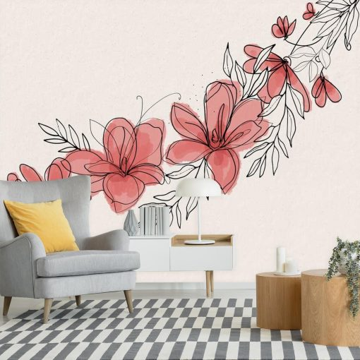 Kwiatowa fototapeta do upiększenia ściany w salonie