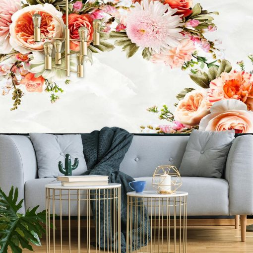 Kwiaty w pastelowych kolorach na fototapecie