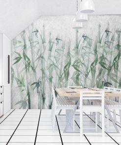 Nowoczesna fototapeta z bambusami do jadalni