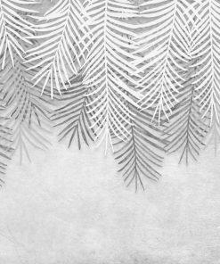 Palmowe liście na szarej fototapecie do kuchni