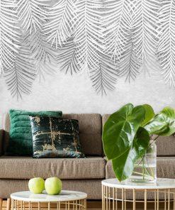 Palmowe liście na szarej fototapecie do pokoju