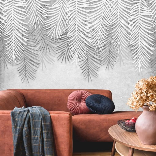 Palmowe liście na szarej fototapecie do salonu