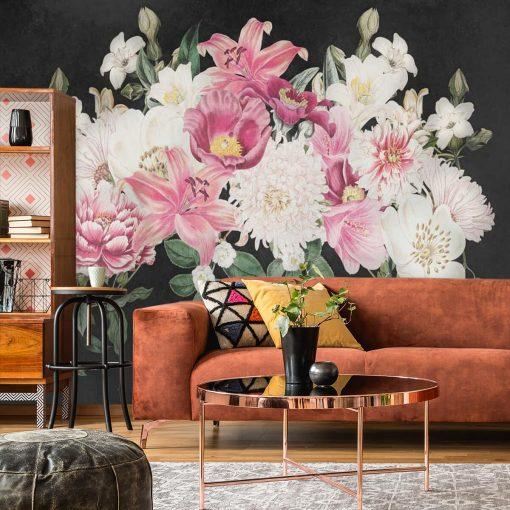 Romantyczna tapeta z kwiatami