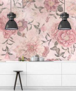 Różowa foto-tapeta botaniczna do jadalni