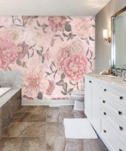 Różowa foto-tapeta botaniczna do łazienki