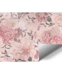 Różowa foto-tapeta botaniczna do restauracji