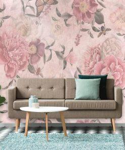 Różowa foto-tapeta botaniczna do salonu